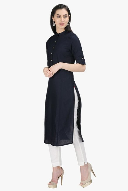 W Navy Cotton Kurta