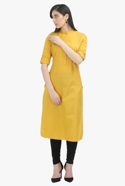 W Yellow Cotton Kurta