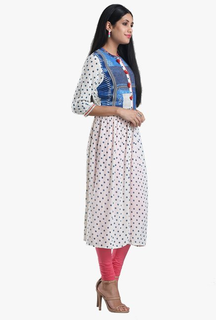 W White & Blue Printed Viscose Kurta