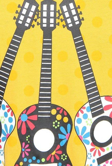 845fc381e Buy Nuteez Yellow Guitar Print Nightdress for Women Online   Tata CLiQ
