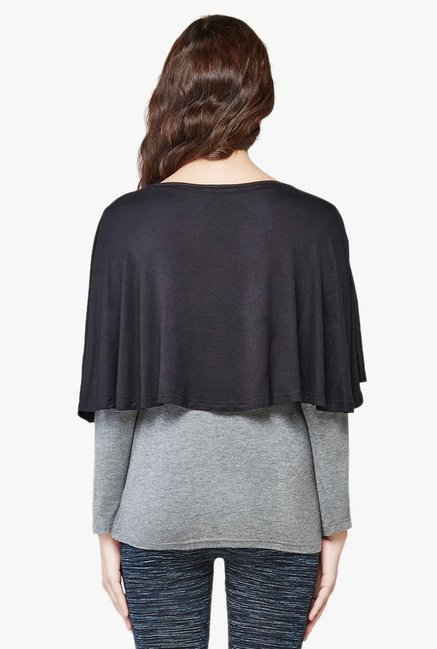AND Black Round Neck Capelet Shrug