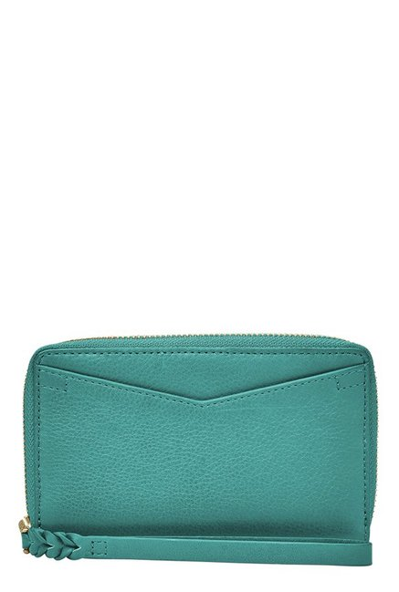 Fossil Caroline RFID Teal Green Solid Leather Wallet