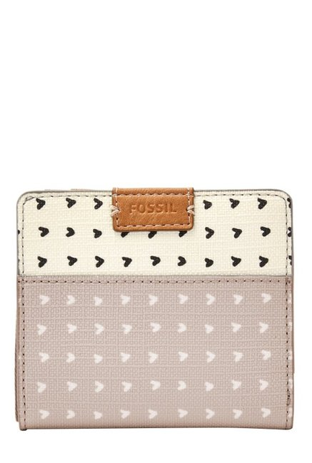 Fossil Emma RFID Grey & White Printed Leather Wallet