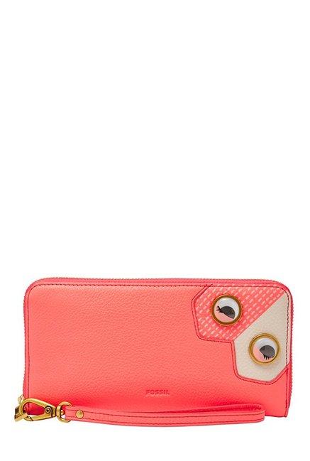 Fossil Coral Pink Embellished Leather Wallet