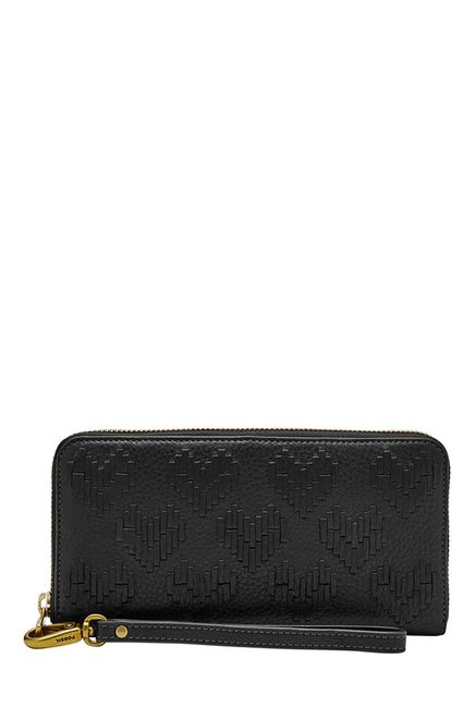 Fossil Black Interlaced Leather Wallet