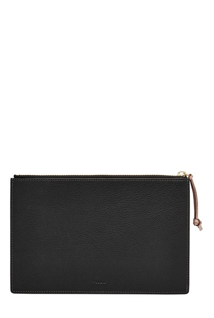 Fossil Black Interlaced RFID Leather Pouch