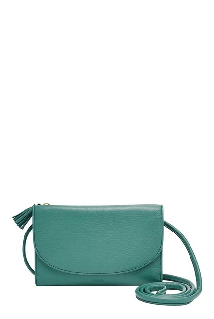 Fossil Teal Green Solid Leather Tri-Fold Sling Bag