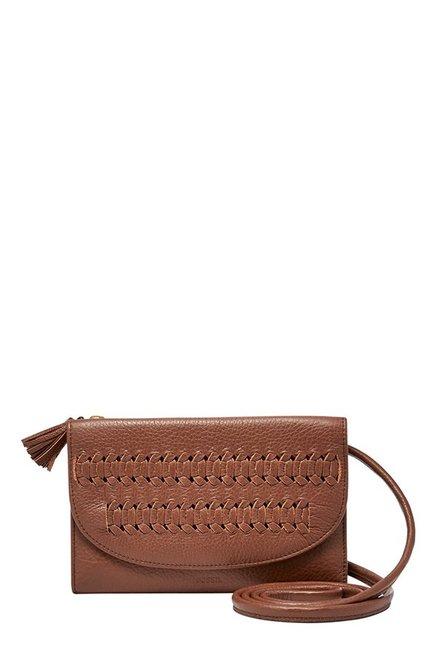 Fossil Sophia Brown Cut Work Leather Tri-Fold Sling Bag