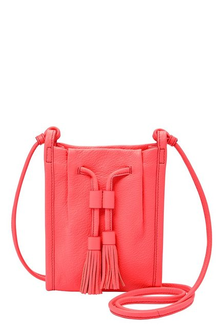 Fossil Claire Neon Coral Tassel Leather Sling Bag