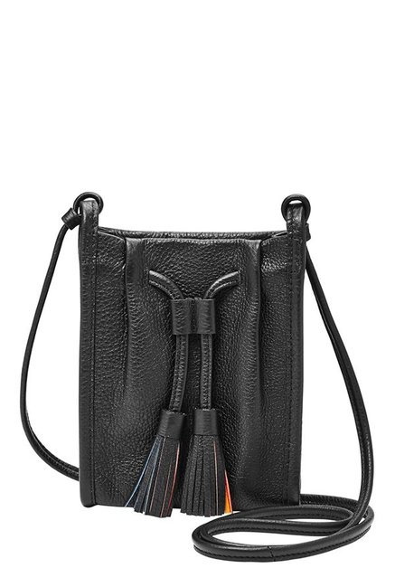 Fossil Claire Black Tassel Leather Sling Bag
