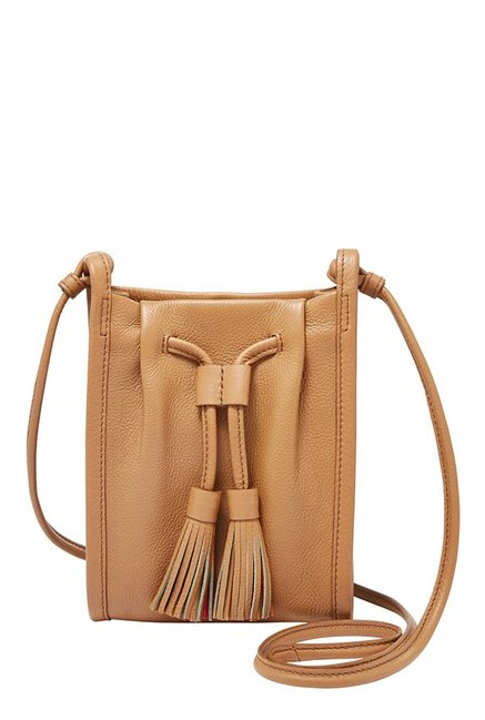 Fossil Claire Brown Tassel Leather Sling Bag