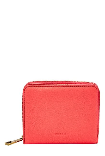 Fossil Neon Coral Solid Leather Wallet