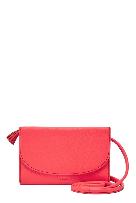 Fossil Neon Coral Solid Leather Tri-Fold Sling Bag