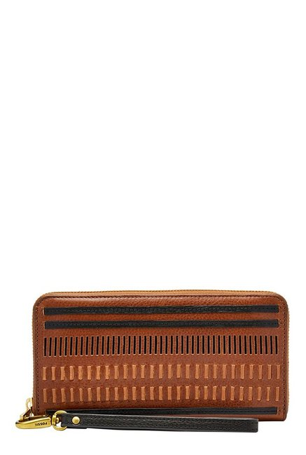 Fossil Brown Cut Work Leather Wallet