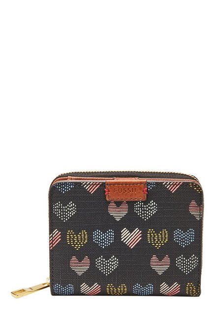Fossil Emma RFID Black & Pink Printed Leather Wallet