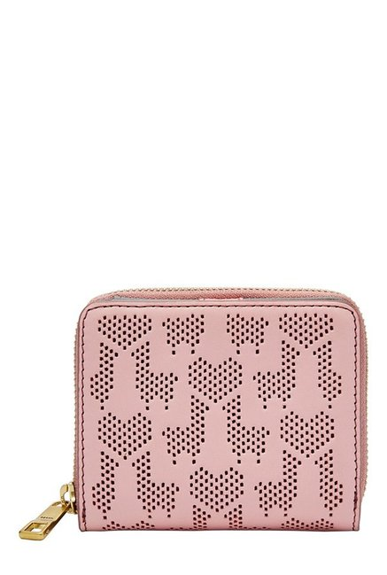 Fossil Powder Pink Perforated Leather Wallet
