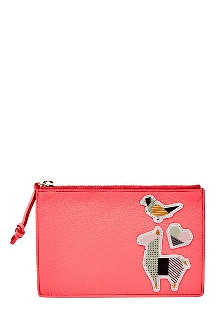 Fossil Neon Coral Applique RFID Leather Pouch