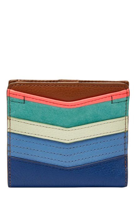 Fossil Blue & Teal Green Stitched Leather Wallet