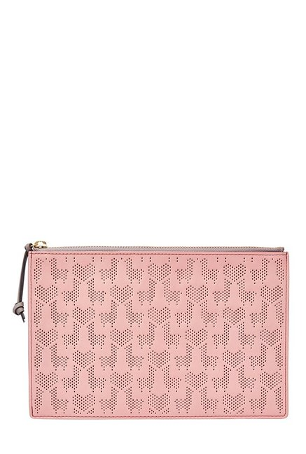 Fossil Powder Pink Perforated RFID Leather Pouch