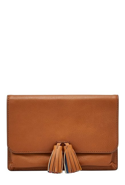 Fossil Amelia Tan Tassel Leather Pouch