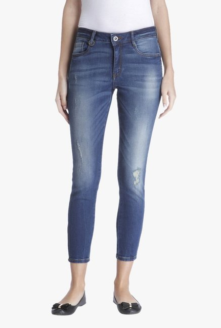 Only Blue Regular Fit High Rise Tattered Jeans