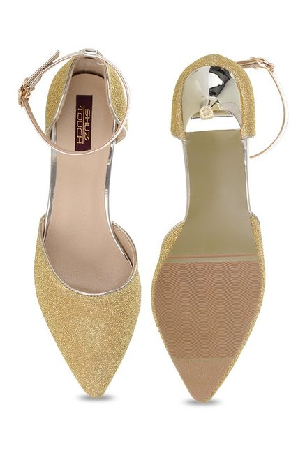 Shuz Touch Golden Ankle Strap D'orsay Sandals