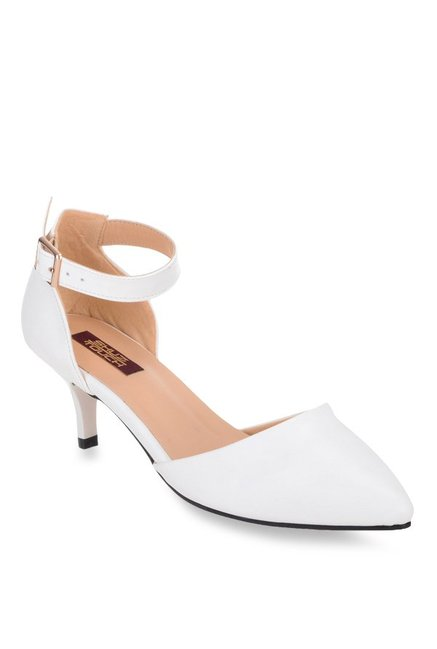 8e48fd081cb4 Buy Shuz Touch White Ankle Strap D orsay Sandals for Women at Best Price    Tata CLiQ