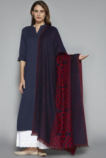 Utsa by Westside Red Pure Wool Shawl