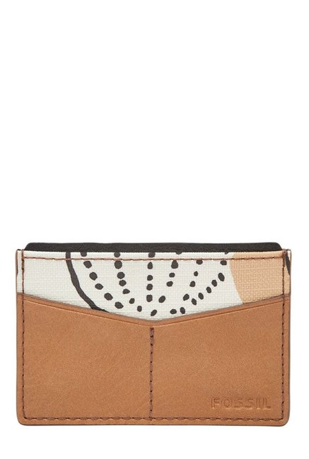 Fossil Tan & White Printed Leather Card Case