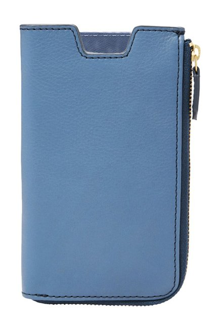 Fossil RFID Cornflower Blue Solid Leather Pouch