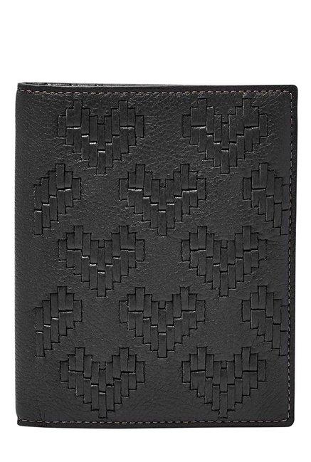 Fossil Black Interlaced Leather Passport Case