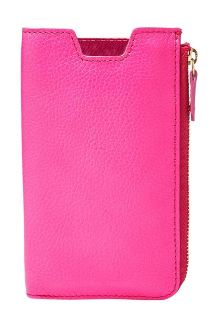 Fossil RFID Hot Pink Solid Leather Pouch