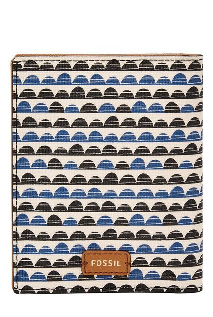 Fossil RFID White & Blue Printed Leather Passport Case