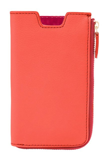 Fossil Neon Coral Solid Leather Pouch