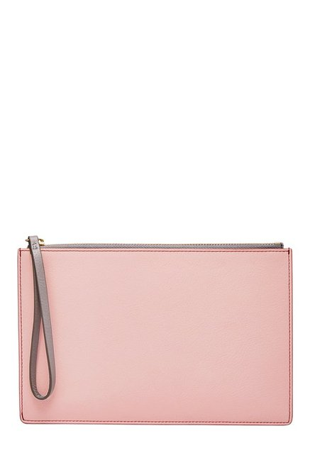 Fossil Powder Pink Solid Leather Pouch