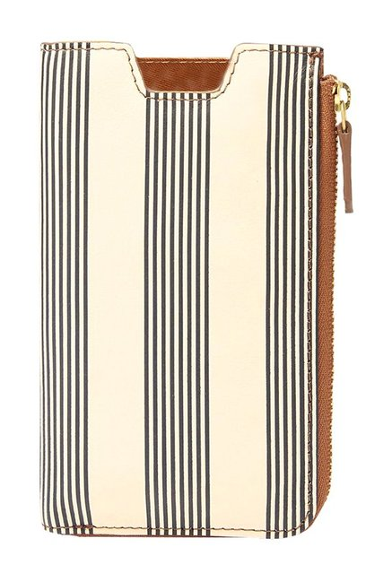 Fossil RFID Off-White & Black Striped Leather Pouch