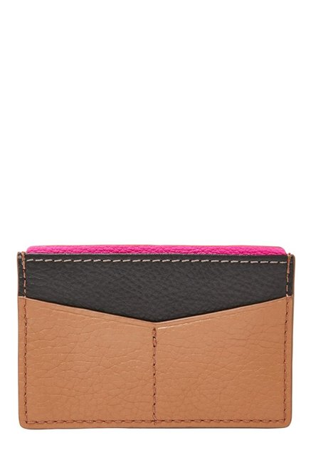 Fossil Tan & Black Panelled Leather Card Case