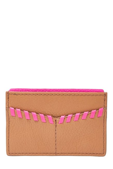 Fossil Tan & Pink Stitched Leather Card Case