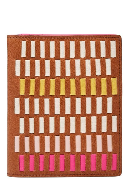 Fossil RFID Tan & White Interlaced Leather Passport Case
