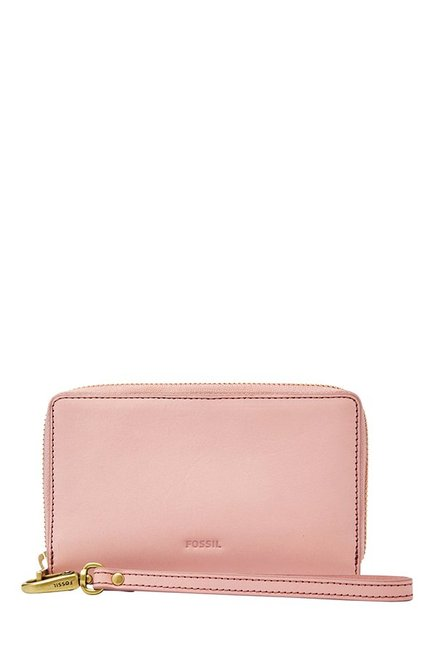 Fossil Emma RFID Powder Pink Solid Leather Wallet