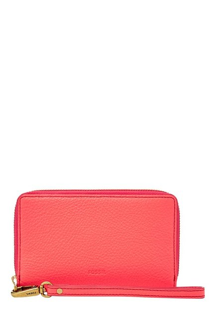 Fossil Emma RFID Neon Coral Solid Leather Wallet