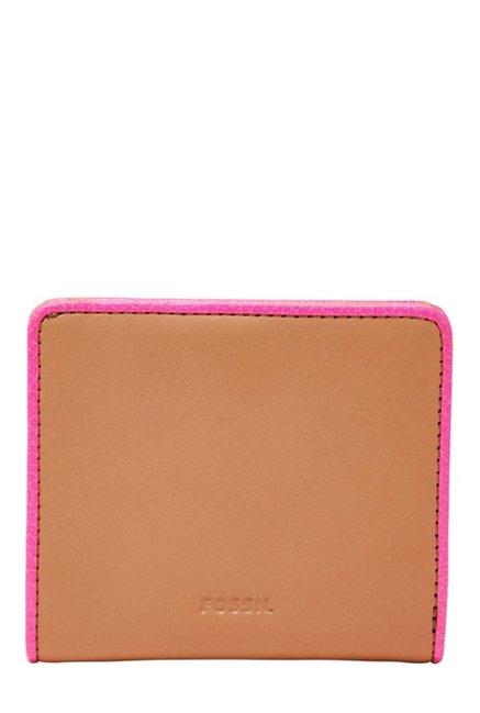 Fossil Emma Tan Solid Leather Bi-Fold Wallet
