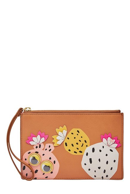 Fossil RFID Tan & Pink Applique Leather Pouch