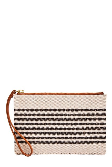 Fossil RFID Cream & Black Striped Leather Pouch