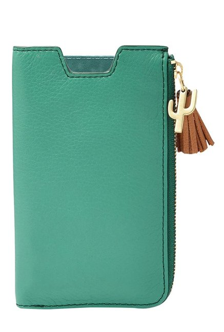 Fossil RFID Teal Green Solid Leather Pouch