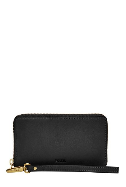 Fossil Emma RFID Black Solid Leather Wallet