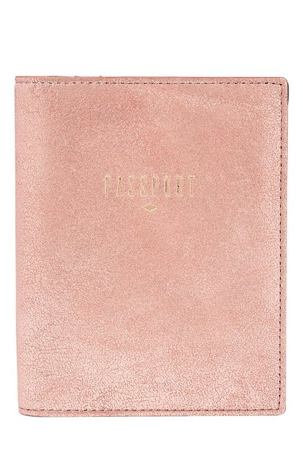 Fossil Rose Gold Solid Leather Passport Case