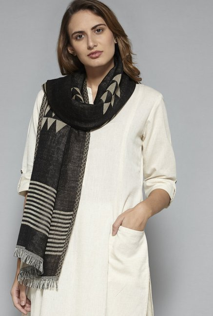 Utsa by Westside Black Pure Wool Stole