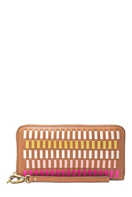 Fossil Emma Tan & White Interlaced Leather Wallet