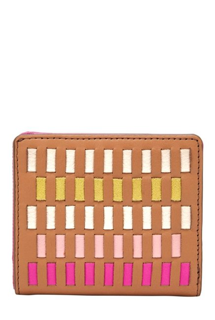 Fossil Emma RFID Tan & White Interlaced Bi-Fold Wallet